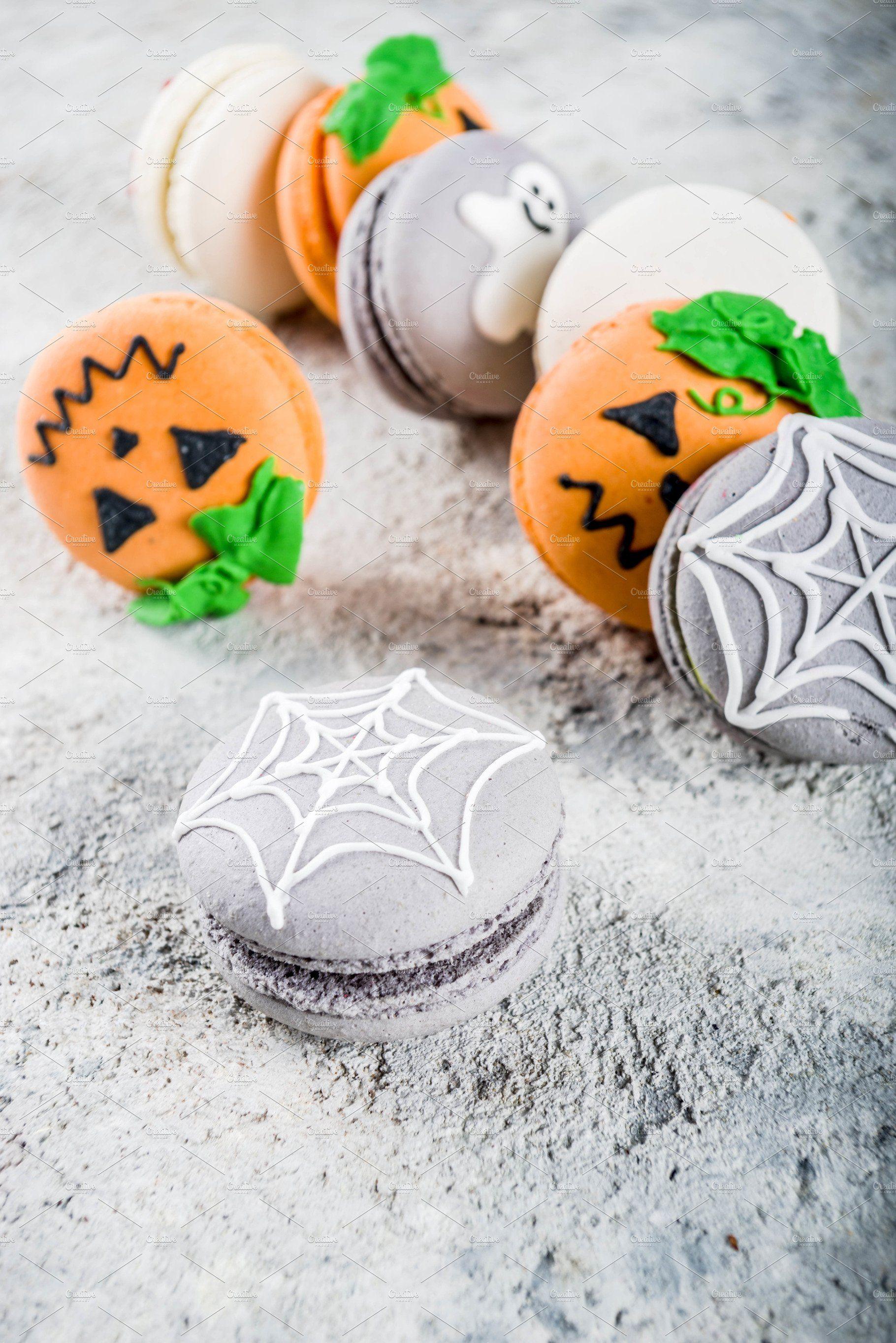 Halloween macaron cookies Macaron cookies, Macarons