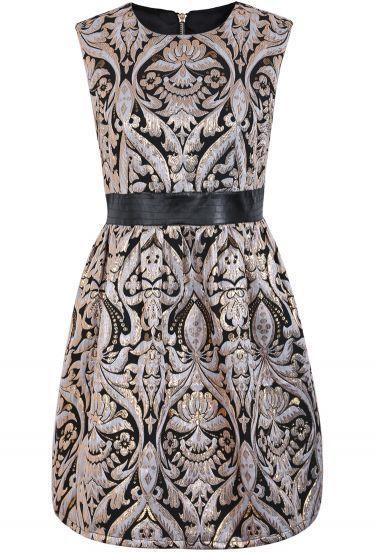 Black Sleeveless Metallic Yoke Embroidered Dress