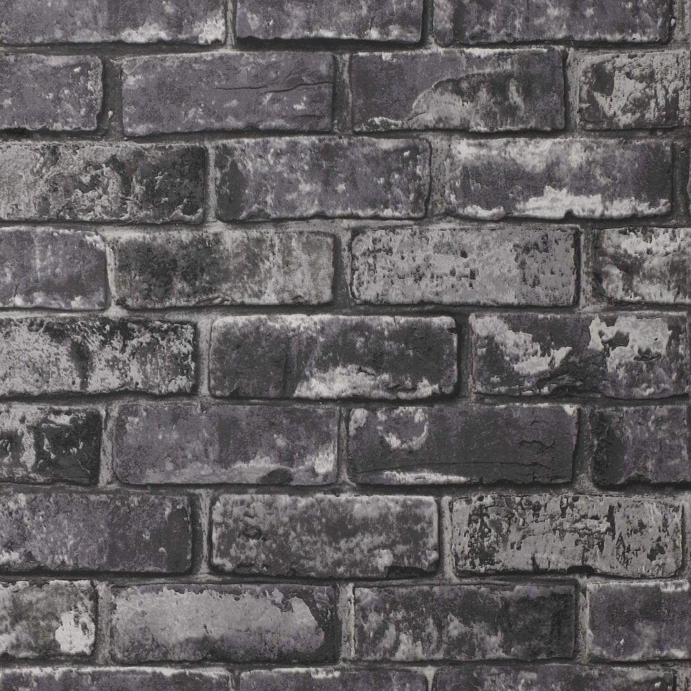 Exclusive Glamour Black Brick Wallpaper (6502) | Black ...
