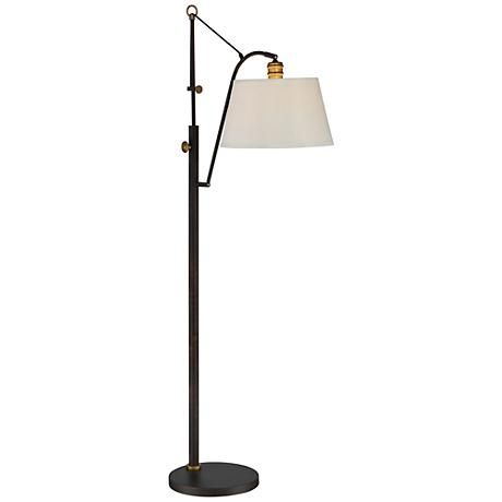 The Oil Rubbed Bronze Finish On This Steel Construction Floor Lamp