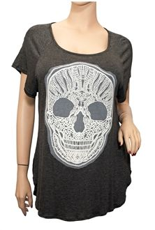 513f3184df Plus Size Split Back Skull Top Gray Vip Fashion Australia