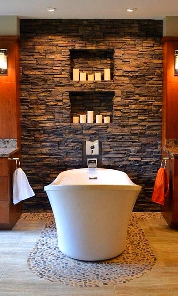 14 Striking Bathrooms With Stone Walls Home Decoration