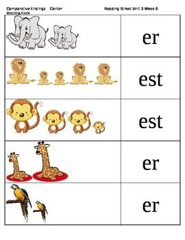 Comparative Endings er, est --Reading Street Unit 3 Week 6 ...