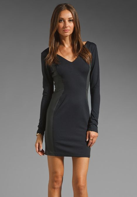 David Lerner Long Sleeve Color Block Dress In Blackgrey At Revolve
