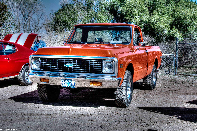 Chevy K10 Chevy Pickup Short Bed 4x4 4 Wheel Drive 4x4 Chevy Orange Chevy Chevrolet Car Show Orange Pickup K10 Big Bow Tie Chevy Chevy Pickups Chevy K10 Chevy