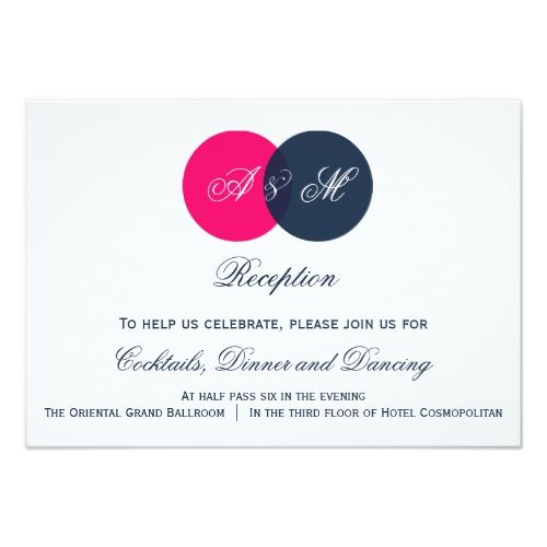 Monogram Wedding Reception Navy and Hot Pink Monograms Wedding Reception Card