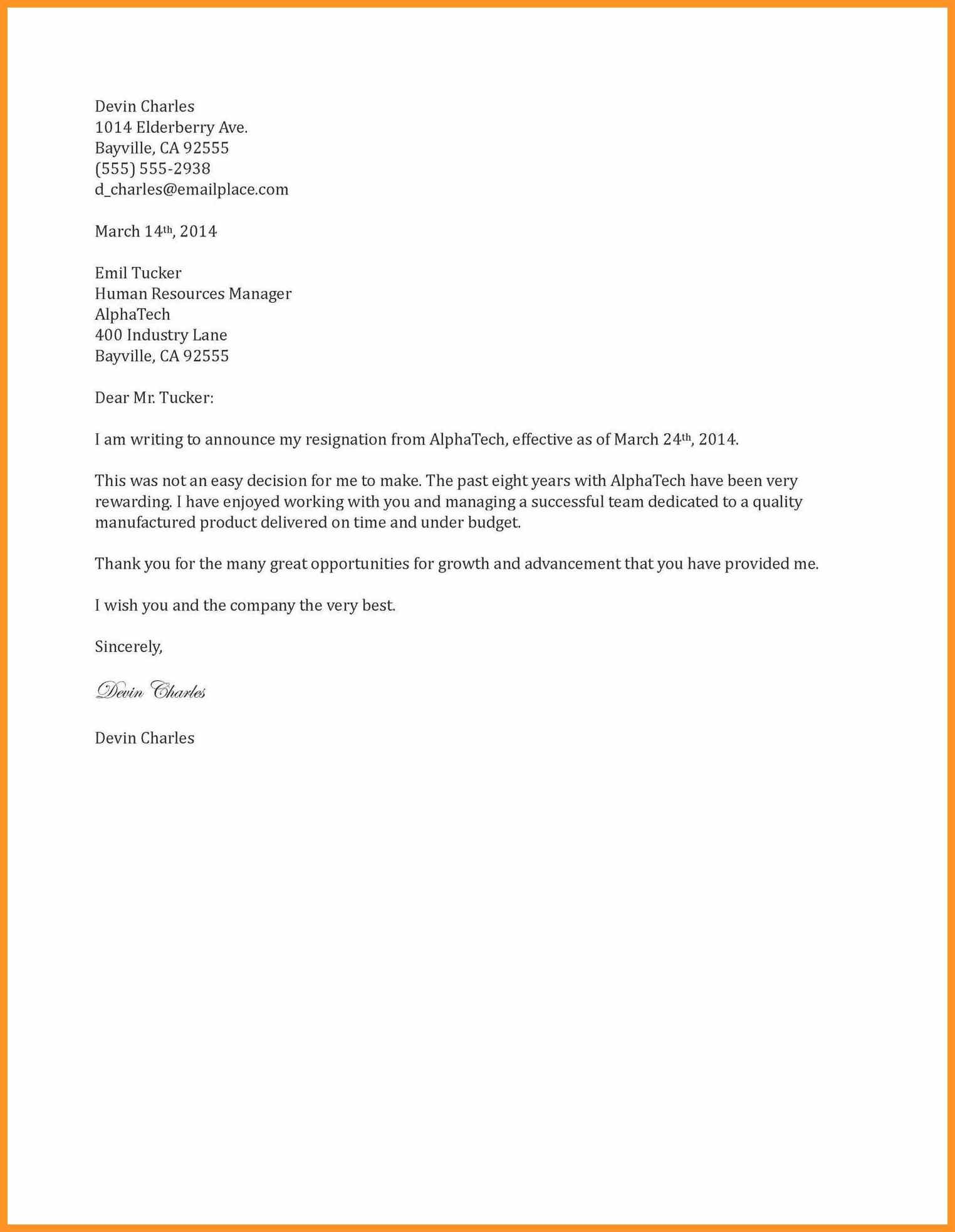 Two Weeks Notice Letter di 2020