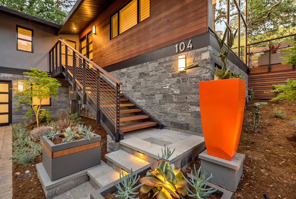 Succulent wall planter porch contemporary with horizontal wood