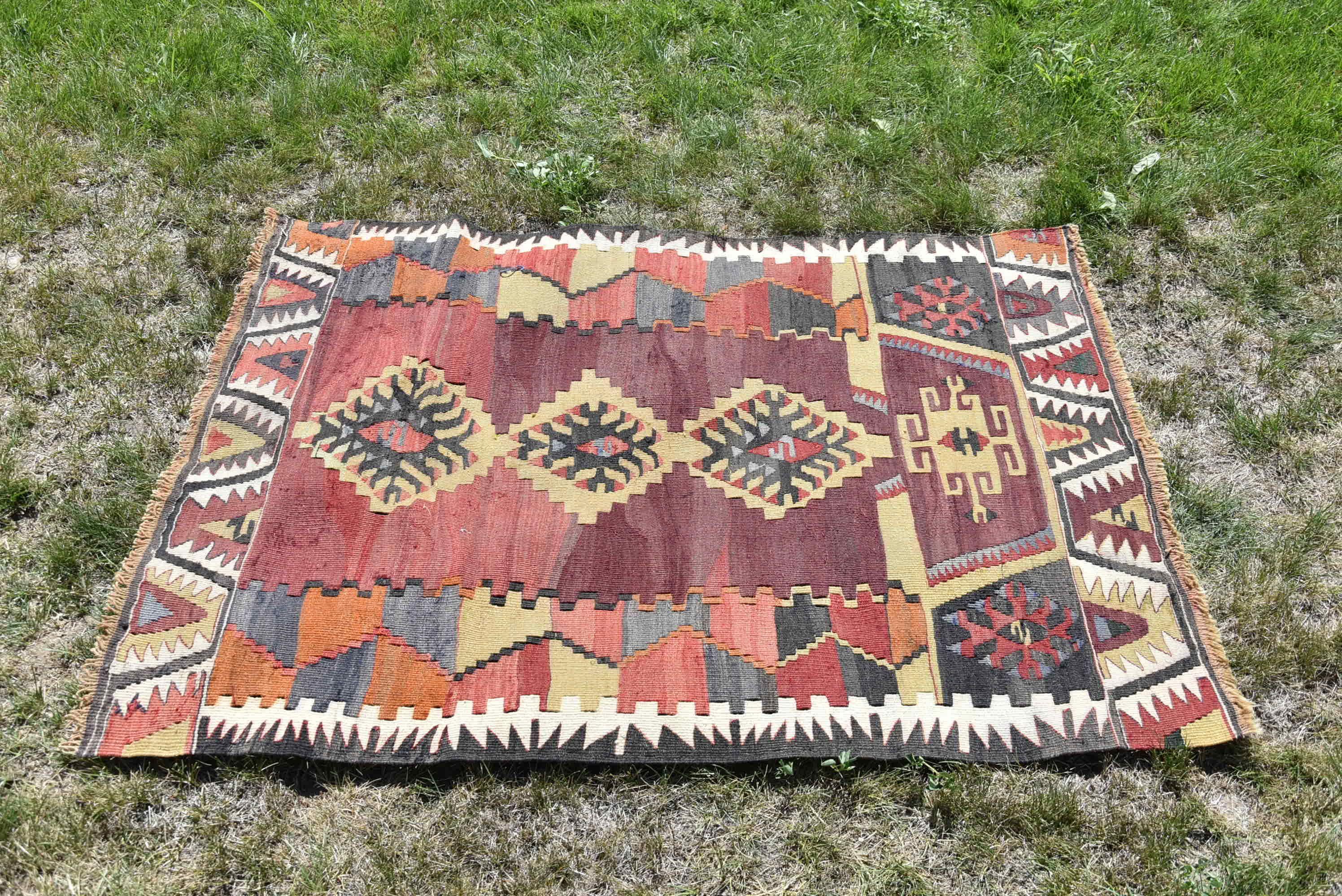 Turkish Kilim Hand Woven Oushak Anatolian Baklava Geometric Style Rug 4x6 feet