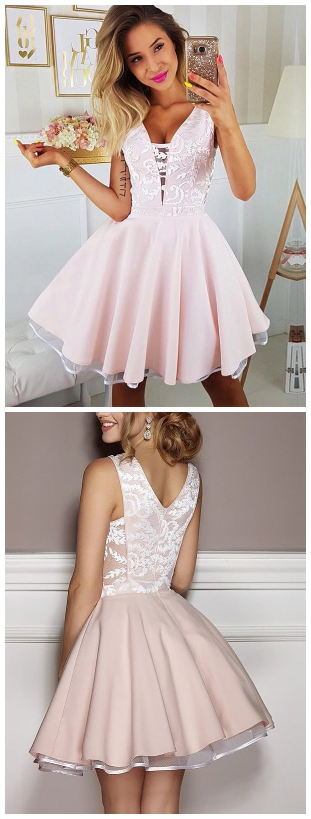 Pink dress hoco  Pink Lace Appliqued Mini Homecoming Dresses V Neck Short Hoco Dress