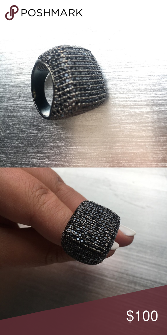 Black Cocktail Ring Stunning Black statement ring covered in black Swarovski crystals Swarovski Jewelry Rings