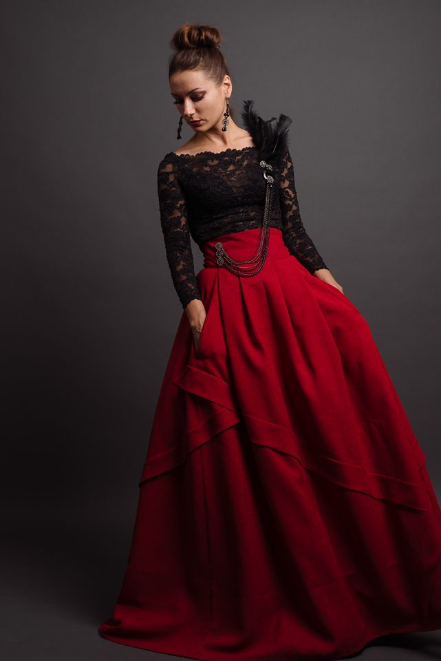 Custom made vintage black lace top with red full-length skirt ...
