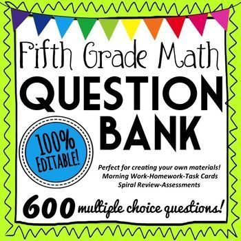 600 multiple choice 5th Grade Math Questions! Perfect for easily