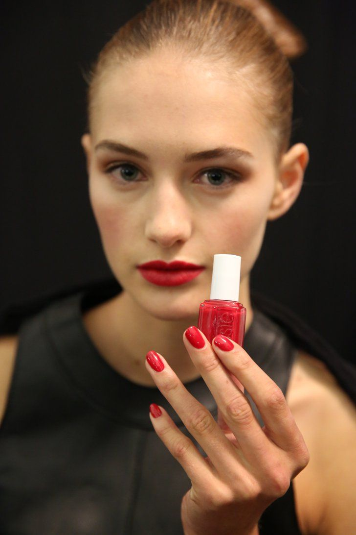 Pin for Later: 51 Spring Nail Art Ideas to Rock Off the Runway Carolina Herrera Spring 2015 At Carolina Herrera, the models sported classic beauty looks that included romantic red nails created by Michelle Saunders using Essie A List ($9).