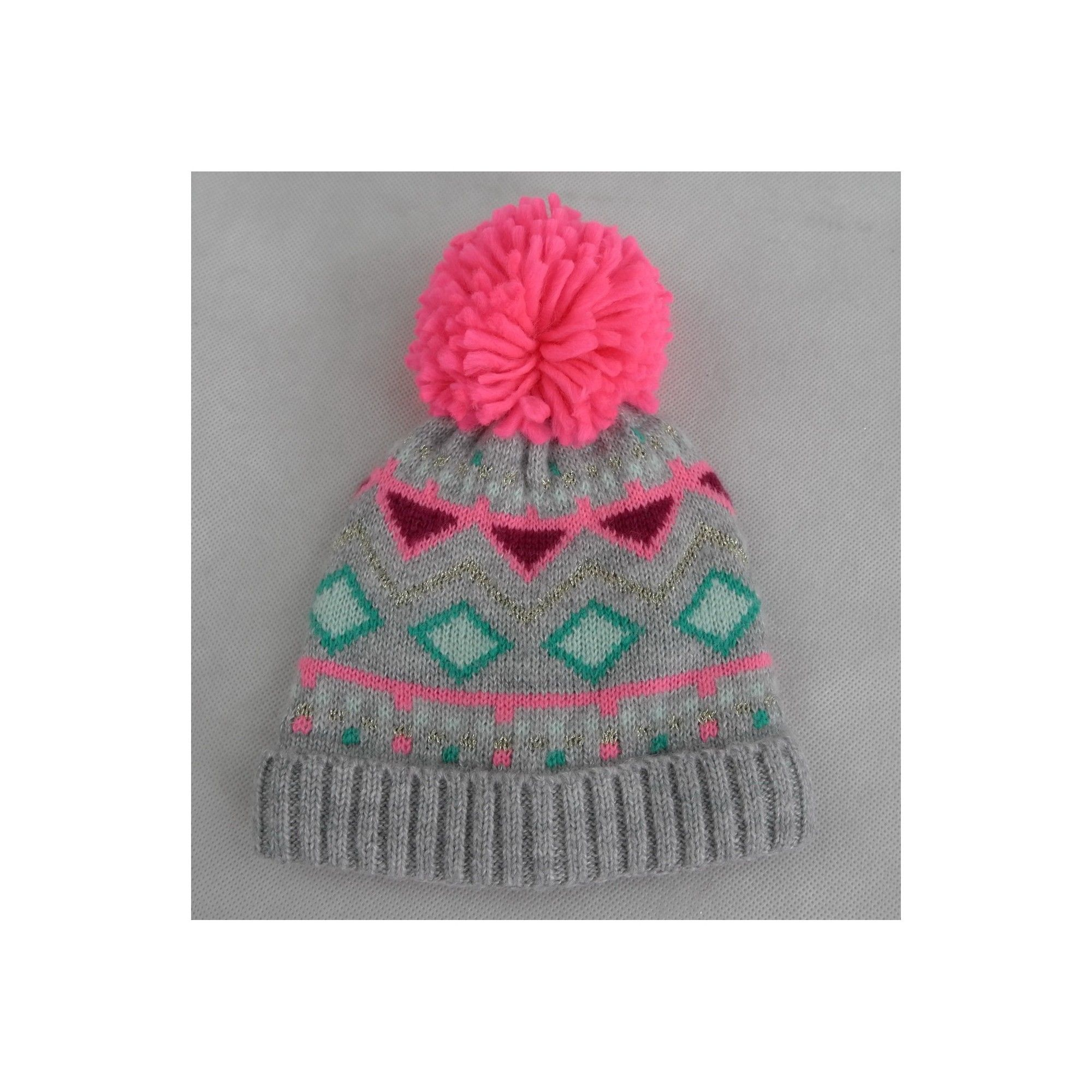 Toddler Girls  Knitted Fairisle Hat - Cat   Jack Pink 2T-5T in 2018 ... 702f557b4e9