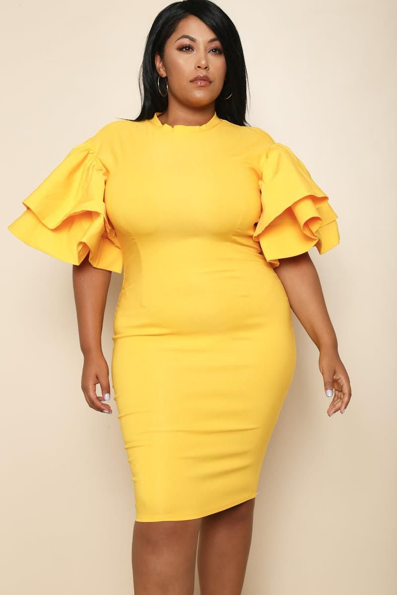 Donatella Plus Size Ruffle Dress Dresses+ GS-LOVE | Curvy chocolate ...