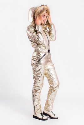 99d347bae8 Man Woman Ski Snow Suit Nylon Metallic Silver Gold Waterproof Overall Plus  Size v roce 2019