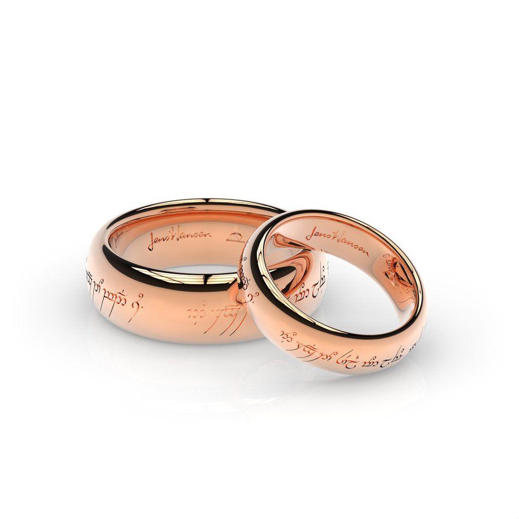 Elvish Love Ring Set In Red Gold Jens Hansen