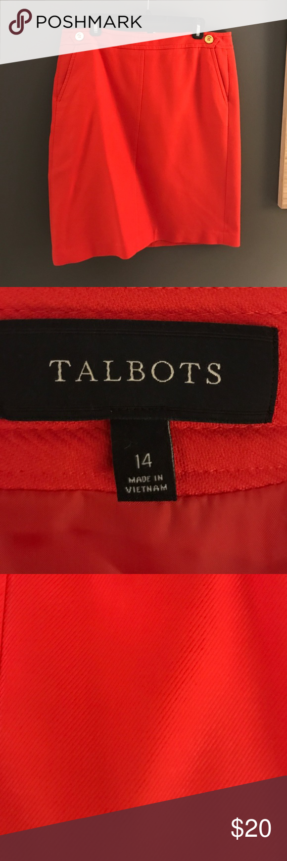 Great Spring Work Skirt Orange/Red Skirt in EUC. Worn only once Talbots Skirts Midi