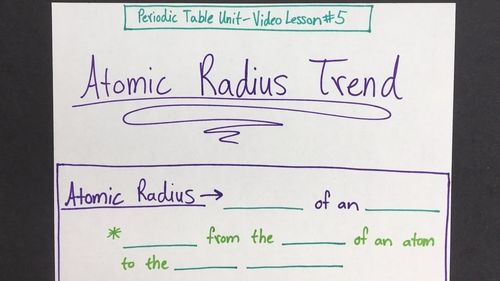 Atomic radius trend video lesson periodic table and student work atomic radius trend periodic table unit video lesson 5 need a sub plan tired of repeating yourself for the 1000th time are many of your students urtaz Gallery