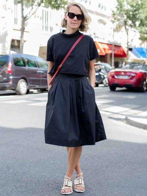 semi long skirt outfit