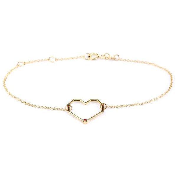 Aliita Corazon Rubi 9kt gold and ruby chain bracelet jjhK6