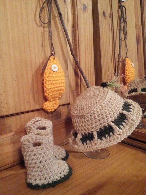 Crochet fishing hat newborn photo prop set I made. The hat pattern ...