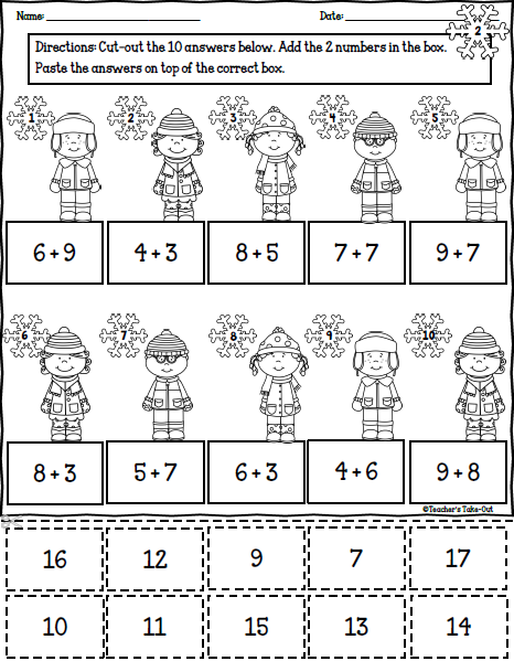 winter math printables math cut and paste and winter. Black Bedroom Furniture Sets. Home Design Ideas