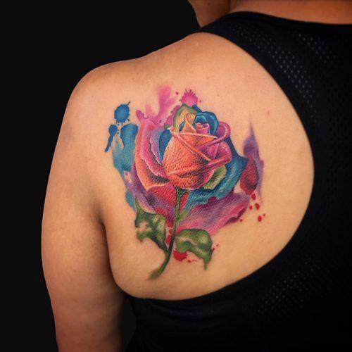 Watercolor Rainbow Rose Mark Durant Rainbow Roses Body Mods Tatting