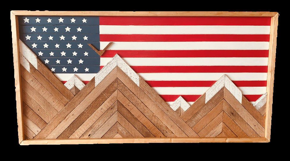 Mountain Wood Wall Art- Rustic- American Flag