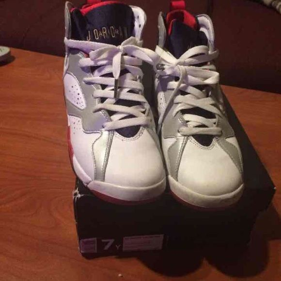 Olympic 7 2012 Olympic 7, Good condition 7/10 scuff in the front pictured, paint chipping along the sides. Have been worn, minimum creases Willing to negotiate price on Ⓜ️ercari ! boys 7 with box Jordan Shoes Sneakers