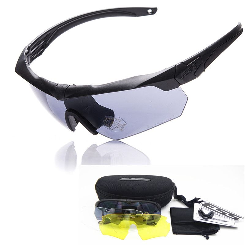 cd7119fbdc ESS CROSSBOW TR90 military goggles 3 Lens Polarized Ballistic Military  Sport Men Sunglasses Army Bullet-proof Eyewear shooting
