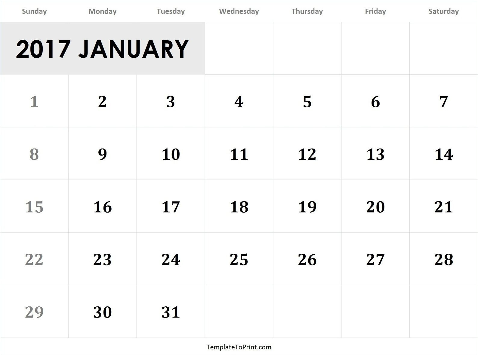 January 2017 Calendar Template Pdf 2017 Calendar Templates