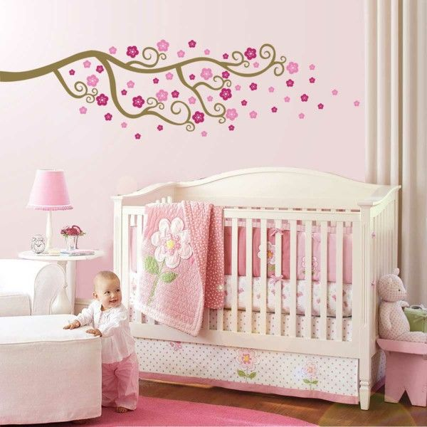 Baby cot design colored bedding pink carpet Pink Wall color