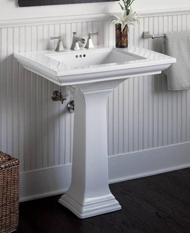 High Quality Kohler Memoirs Pedestal Lavatory With Centers   White, Beadboard In Back
