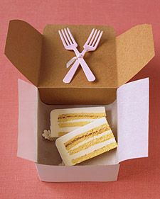 """A friend can prepare a thoughtful """"to-go"""" box for the couple. Use an awl to poke two holes an inch apart in the lid of a pastry box, available at baking shops. Thread ribbon through, and tie on forks. Line box with waxed paper. Give box to caterer before the reception."""