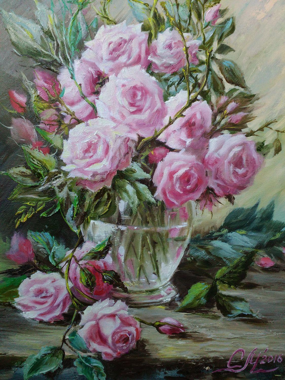 Original Fantasy Painting Flower Painting Space Painting Gift Etsy Flower Painting Rose Painting Pink Flower Painting