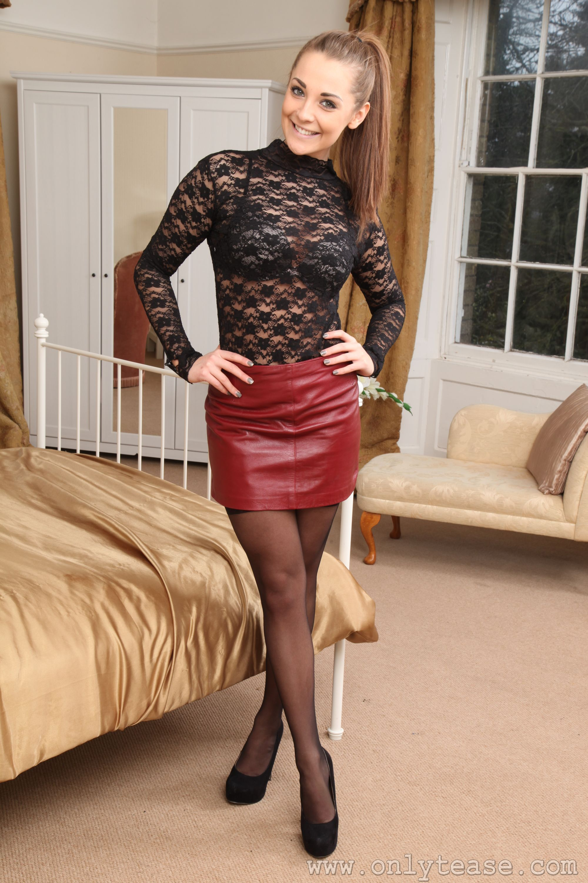 Daisy Watts doing a perfect summer evening in a Red Leather Skirt ...