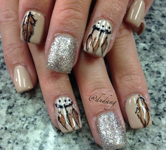 Native American Nails Feather Nails Feather Nail Art