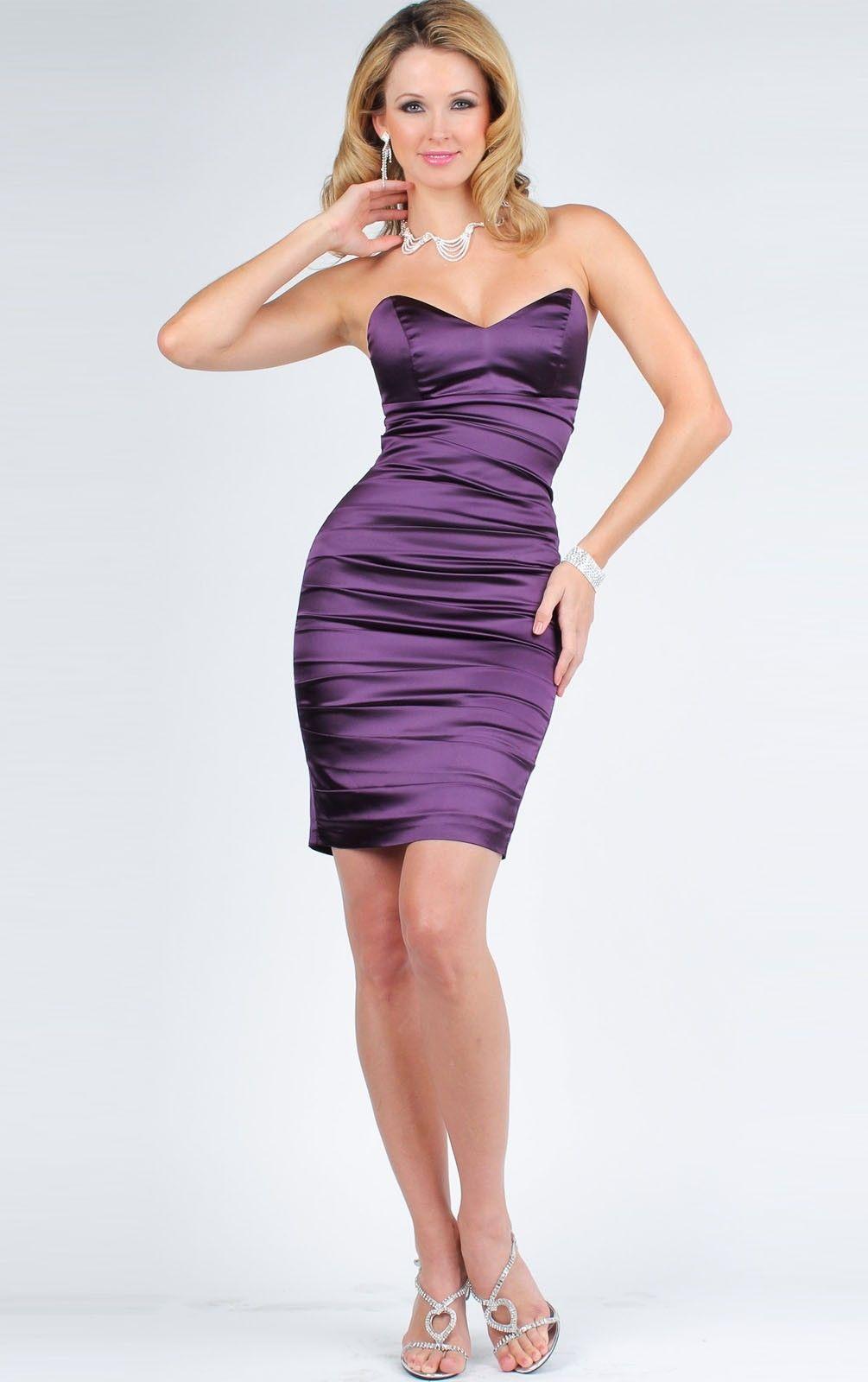 Creative Satin Mermaid Short Strapless Sleeveless Cocktail Dresses ...