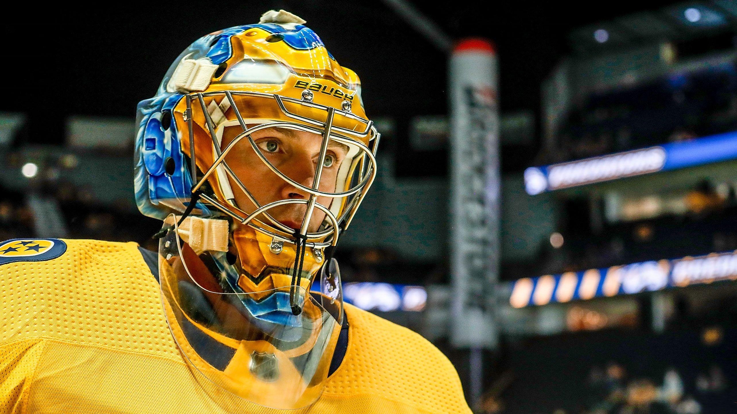 Rinne Unveils New Mask For 2018 19 Season Goalie Mask Nashville Predators Hockey Airsoft