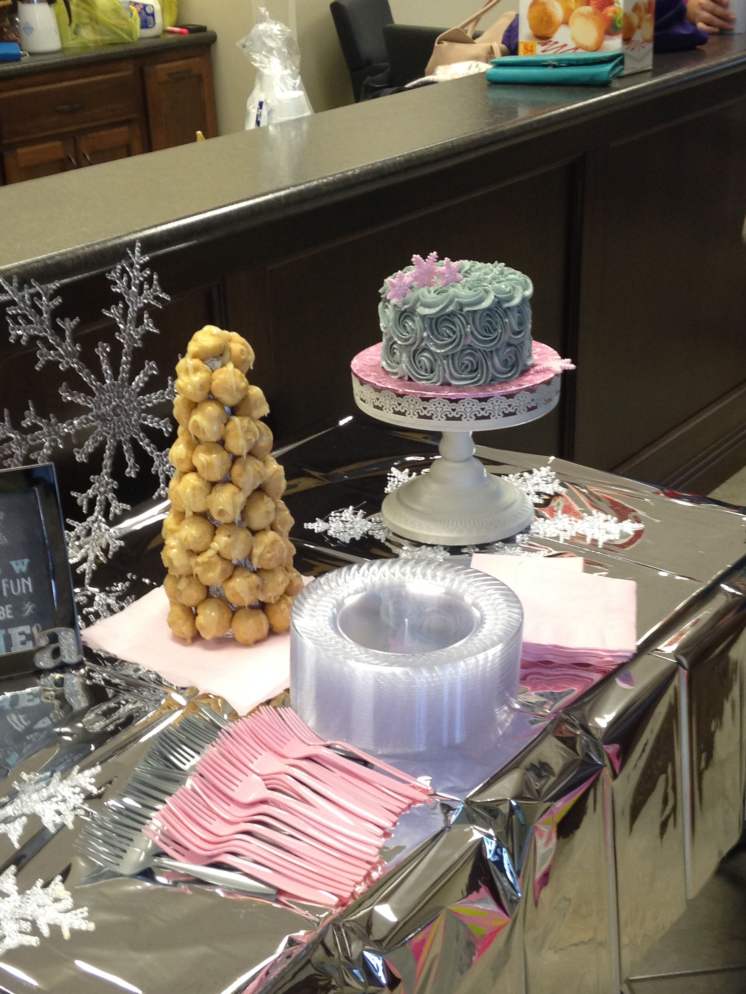 Winter ONEderland birthday. Snow covered (white chocolate drizzled Creme puff) tree and smash cake