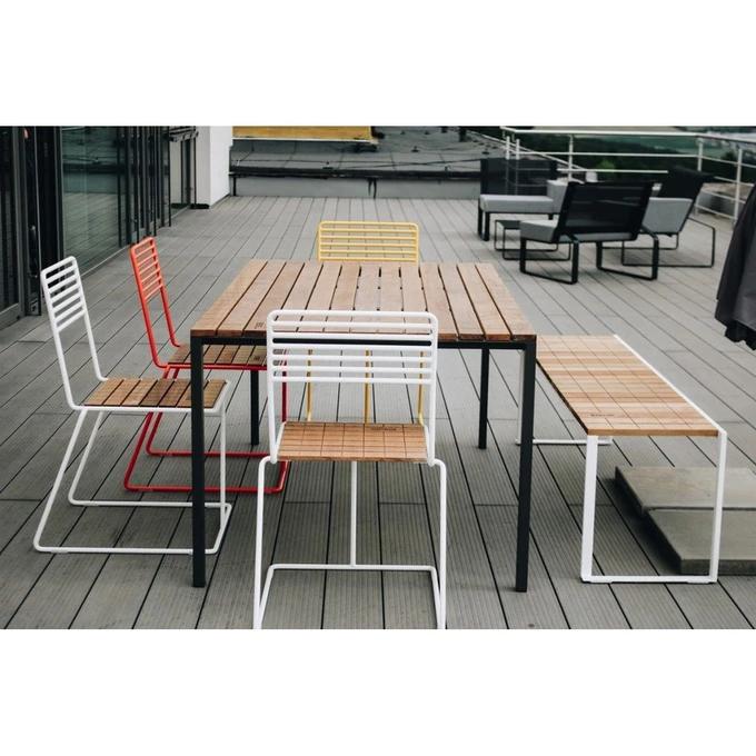 Salon De Jardin Egoe Table Rectangulaire Cora Banc Bistrot Et 4 Chaises Tina En 2020 Mobilier Jardin Mobilier Exterieur Plateau En Bois Massif