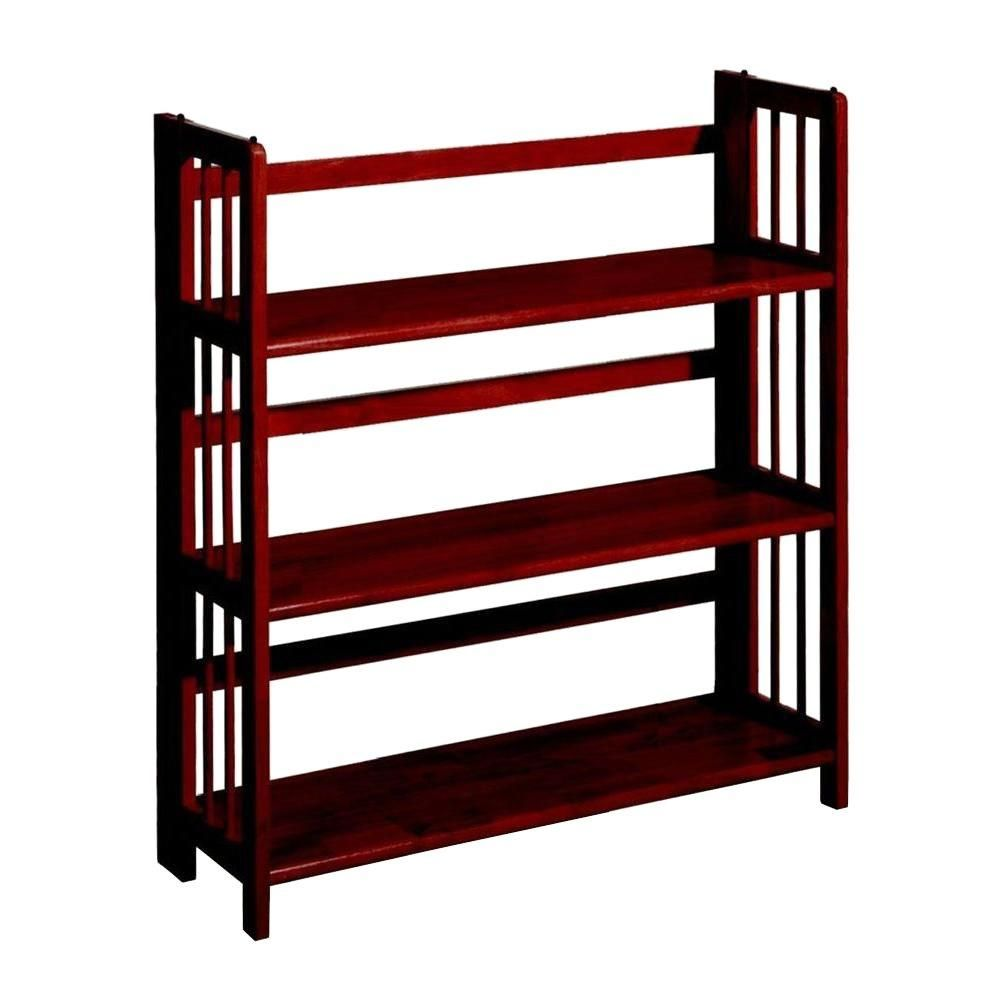 Home Decorators Collection 3 Shelf Folding Bookcase In Mahogany Bookshelves For Small Spaces Open Bookcase Furniture For Small Spaces