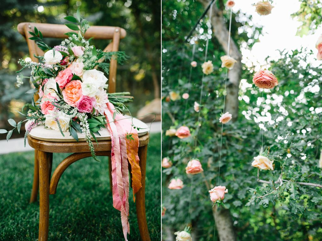stunning summer wedding bouquets, hanging flowers, hanging flower backdrop, suspended roses,wedding backdrop ideas, wedding flowers utah calie rose www.calierose.com