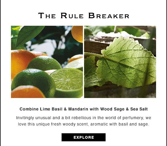 The Rule Breaker Combine Lime Basil Mandarin With Wood Sage Sea Salt Invitingly Unusual And A Bit Lime And Basil Lime Basil Mandarin Essential Oil Blends