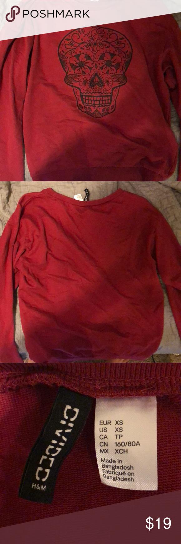 Maroon sugar skull sweatshirt my posh picks pinterest fashion