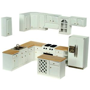 Complete Modern Dollhouse Kitchen Set