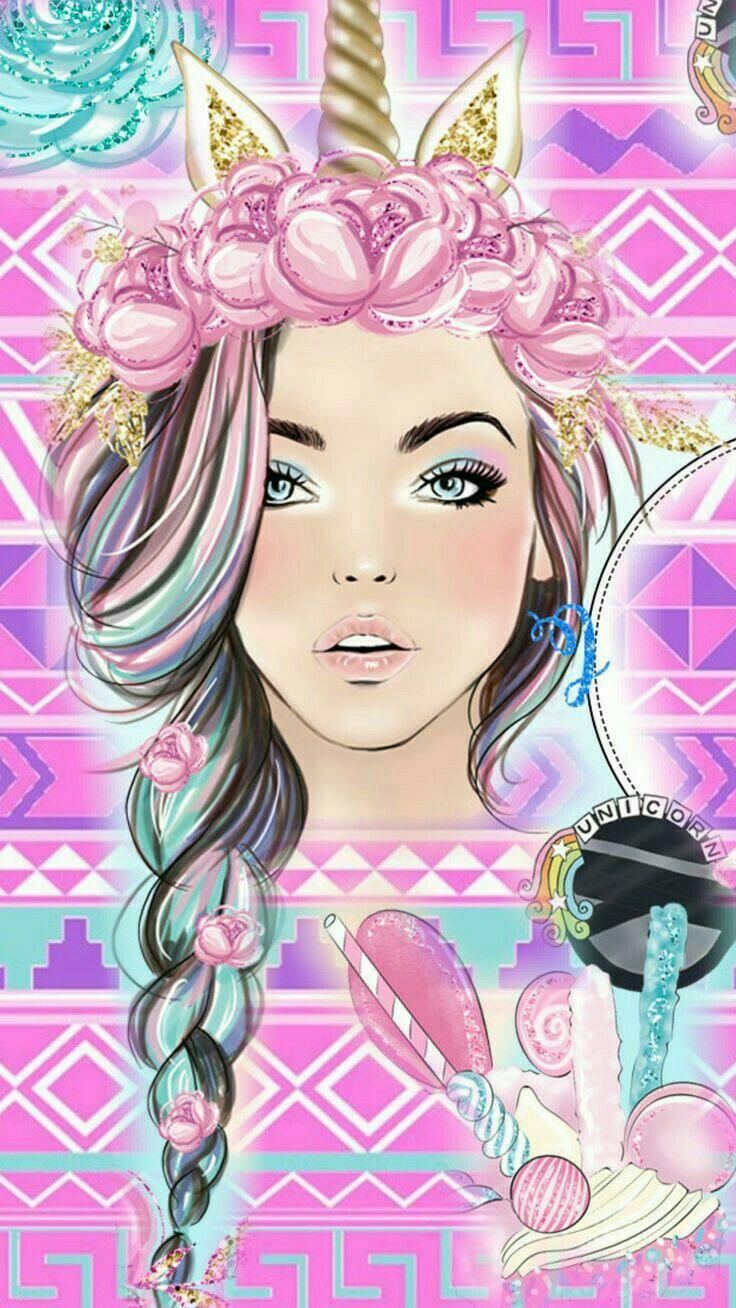 Картинки девушек нарисованные цветные милые, картинка