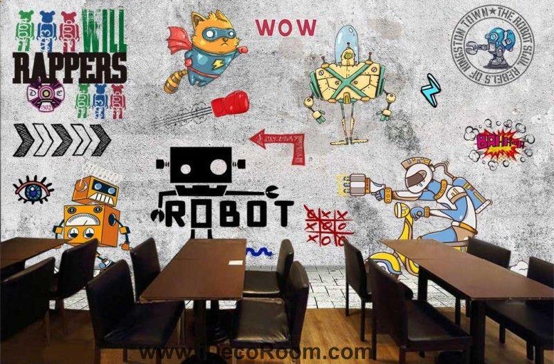 Grafik-Design Cartoon von Robotern auf graue Wand Kunst Wandtapeten